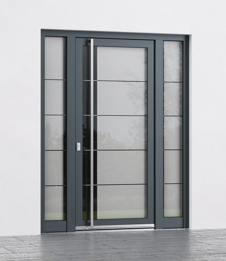 Entrance doors with glass panels